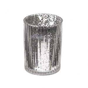 11116986CB Silver Glass Candle Holder 9.5cm x 7cm