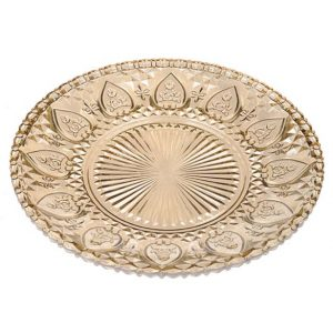 11117358 Antique gold glass plate 31cm CB