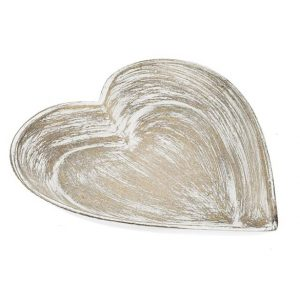11117839CB Natural white wash Heart Bowl 30cm