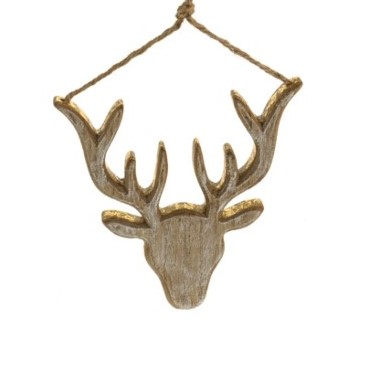 11124783CB Wood Stag Head Gold 18cm x 16cm