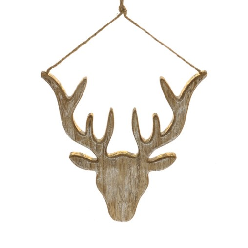 11124790CB Wood Stag Head Gold 23cm x 22cm