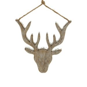 11125001CB Wood Stag Head Silver 18cm x 16cm