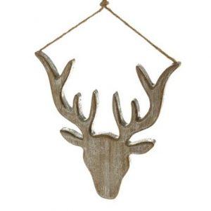 11125018CB Wood Stag head silver 23cm x 22cm