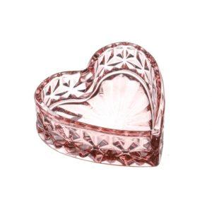 11133464CB Heart Glass Tealight Holder Pink