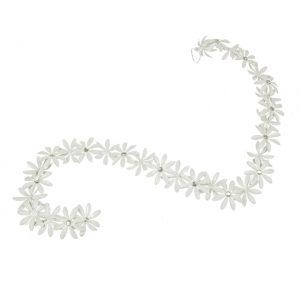 11171558CB White Metal Flower Garland Large 110x7x5cm