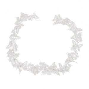 11171565CB White Metal Butterfly Garland Large 110x8x7cm