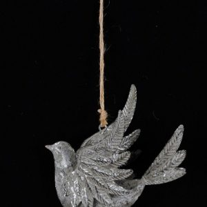 33657 Silver Hanging Bird Decoration