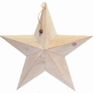 37536 White Shabby Chic Wooden Barn Star 49cm x 49cm