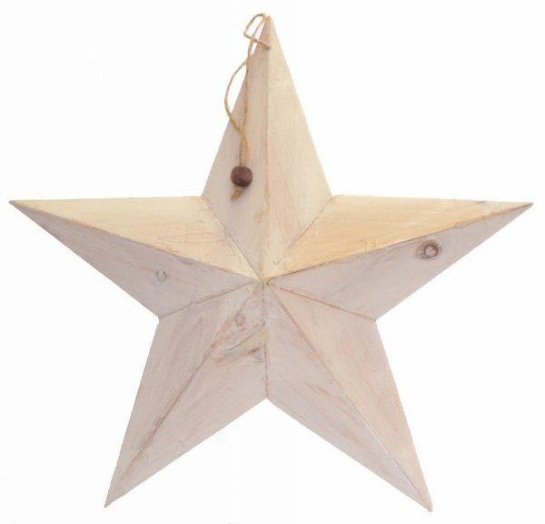 37536 White Shabby Chic Wooden Barn Star 49cm x 49cm
