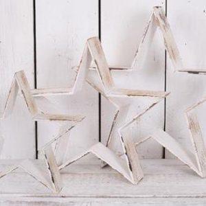 38840R Set Of 3 White Wood Stars 55.5cm