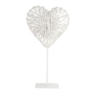 DE757913 White willow heart on stand 58x30cm CB