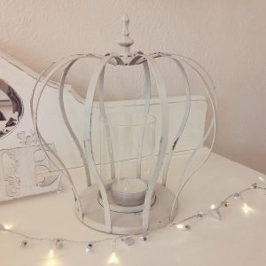 36628 Large Shabby Chic Crown Candle Holder