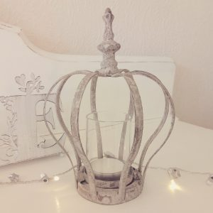 30389 Rustic Grey Crown Tealight Holder 18cm