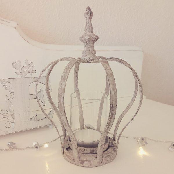 30389 Rustic Grey Crown Tealight Holder 18cm