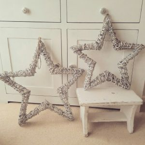 Large and Medium Hanging Grey Washed Wicker Star