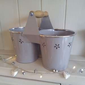 Daisy Twin Planter- Grey