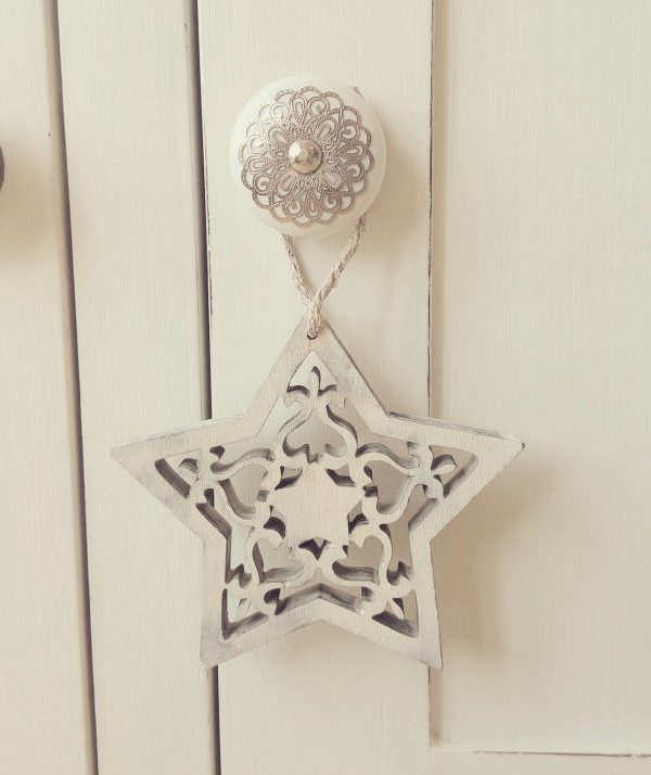 Shabby Chic Wooden Stencil Hanging Heart