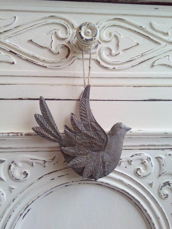 33657 Silver Hanging Bird Decoration