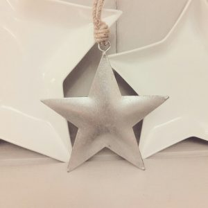 30420 Silver Metal Hanging Star 12cm