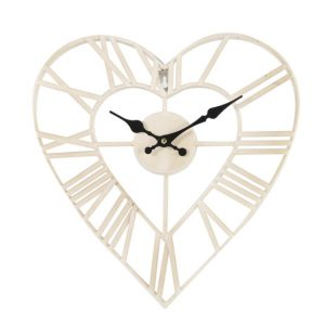 de749185 Cream heart clock 35.5x34cm CB