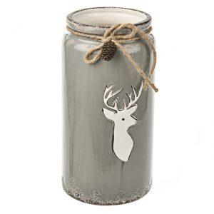 11132580CB Ceramic deer vase 25cm grey
