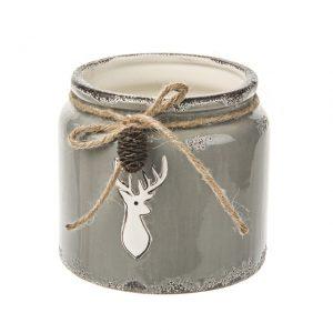 11132689CB Grey Ceramic Deer pot 13cm