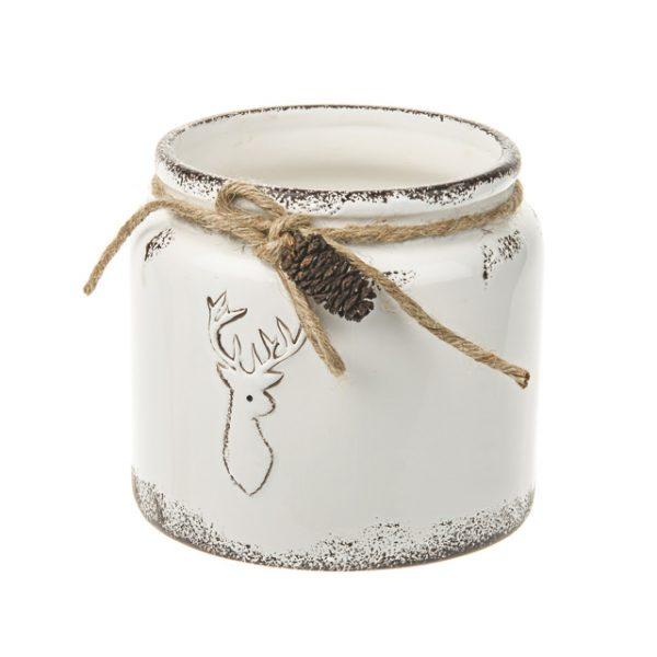 11132696CB Ceramic deer pot 13cm wht