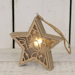 38944R Wooden light up star decoration
