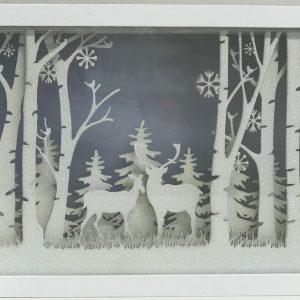 39194R White Glitter Woodland Scene