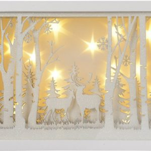 39194R White Glitter Woodland Scene Light