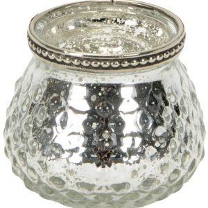 40077R Silver Glass Tealight Holder