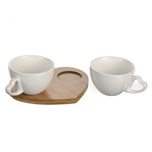 11168268CB Set 2 Heart Mugs & Tray