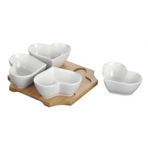11168367CB Heart Dishes & Holder