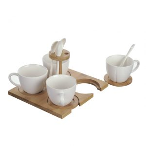 11168381CB Set 4 Mugs & Tray